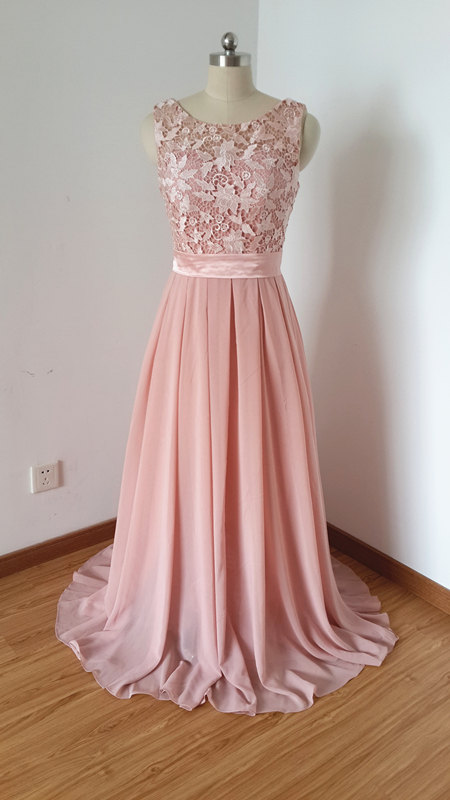 Scoop Dusty Rose Lace Chiffon Long Prom Dress